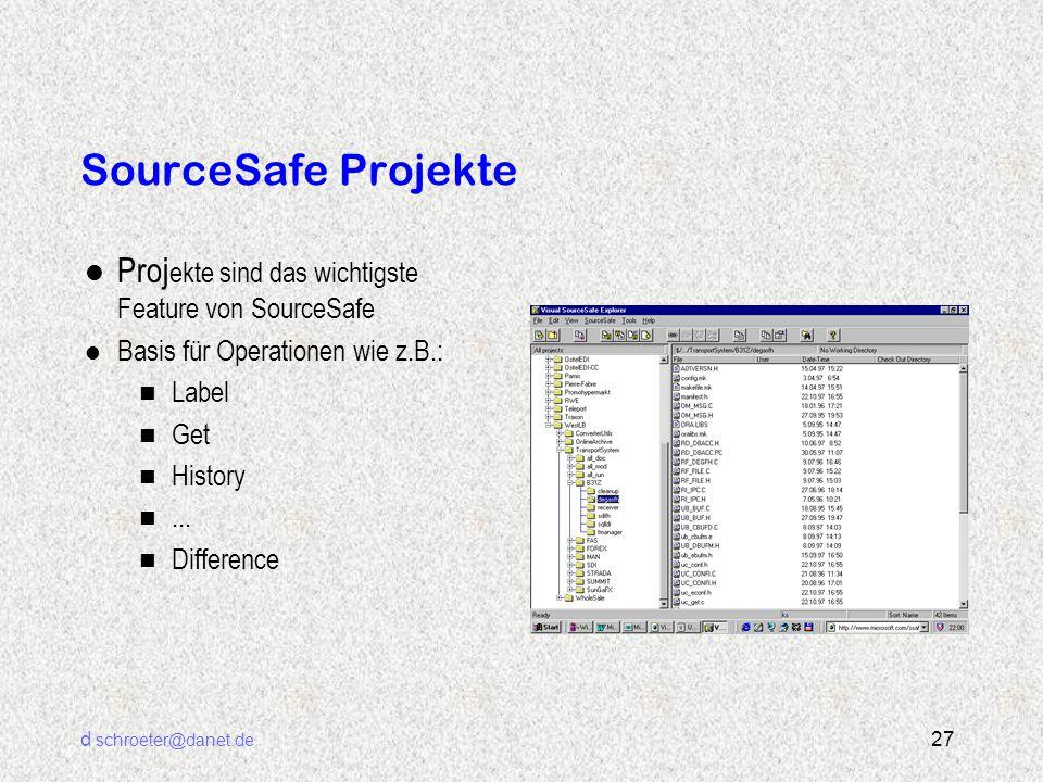 d schroeter@danet.de 27 SourceSafe Projekte l Proj ekte sind das wichtigste Feature von SourceSafe l Basis für Operationen wie z.B.: n Label n Get n H