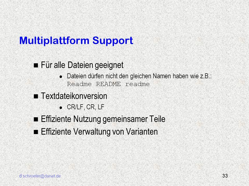 d schroeter@danet.de 33 Multiplattform Support n Für alle Dateien geeignet Dateien dürfen nicht den gleichen Namen haben wie z.B.: Readme README readm