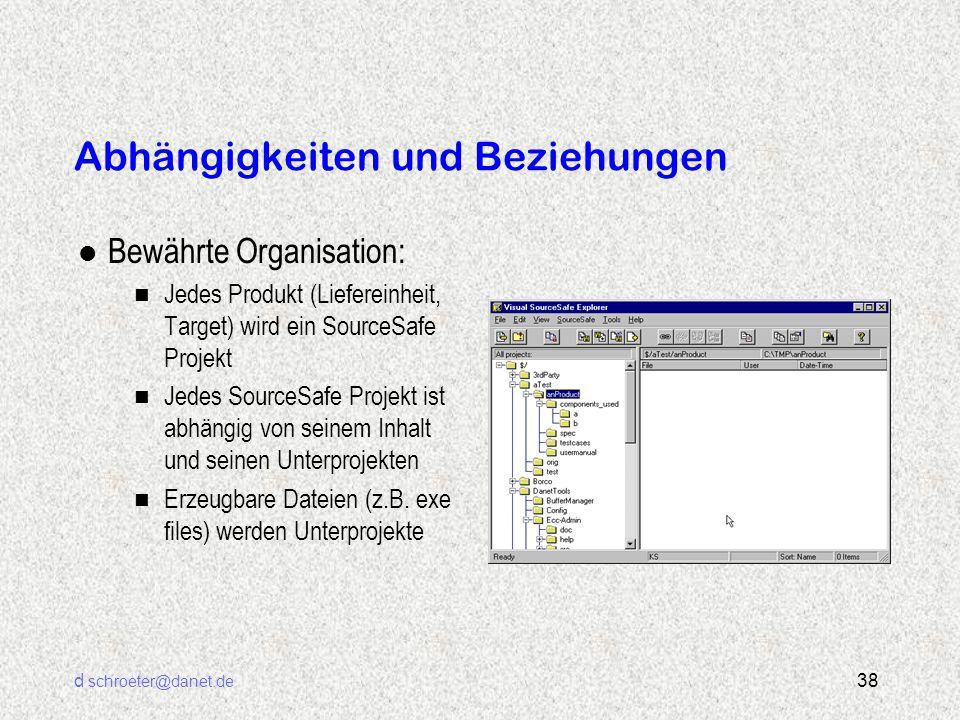 d schroeter@danet.de 38 Abhängigkeiten und Beziehungen l Bewährte Organisation: n Jedes Produkt (Liefereinheit, Target) wird ein SourceSafe Projekt n