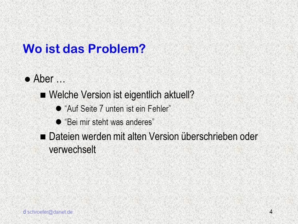 d schroeter@danet.de 5 Software Entwicklung im Team n Software ist leicht zu ändern n Fehler müssen schnell korrigiert werden n Der Kollege braucht die Datei n Besser die Funktion X modifizieren, als die ganze Datei xyz.c neu schreiben n Der Kunde braucht schnell eine (Zwischen-)Lieferung