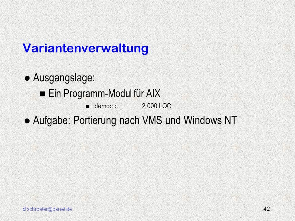 d schroeter@danet.de 42 Variantenverwaltung l Ausgangslage: n Ein Programm-Modul für AIX n democ.c2.000 LOC l Aufgabe: Portierung nach VMS und Windows