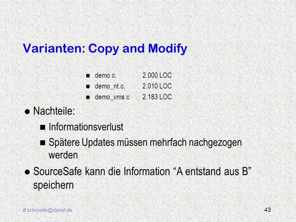 d schroeter@danet.de 43 Varianten: Copy and Modify n demo.c. 2.000 LOC n demo_nt.c, 2.010 LOC n demo_vms.c 2.183 LOC l Nachteile: n Informationsverlus