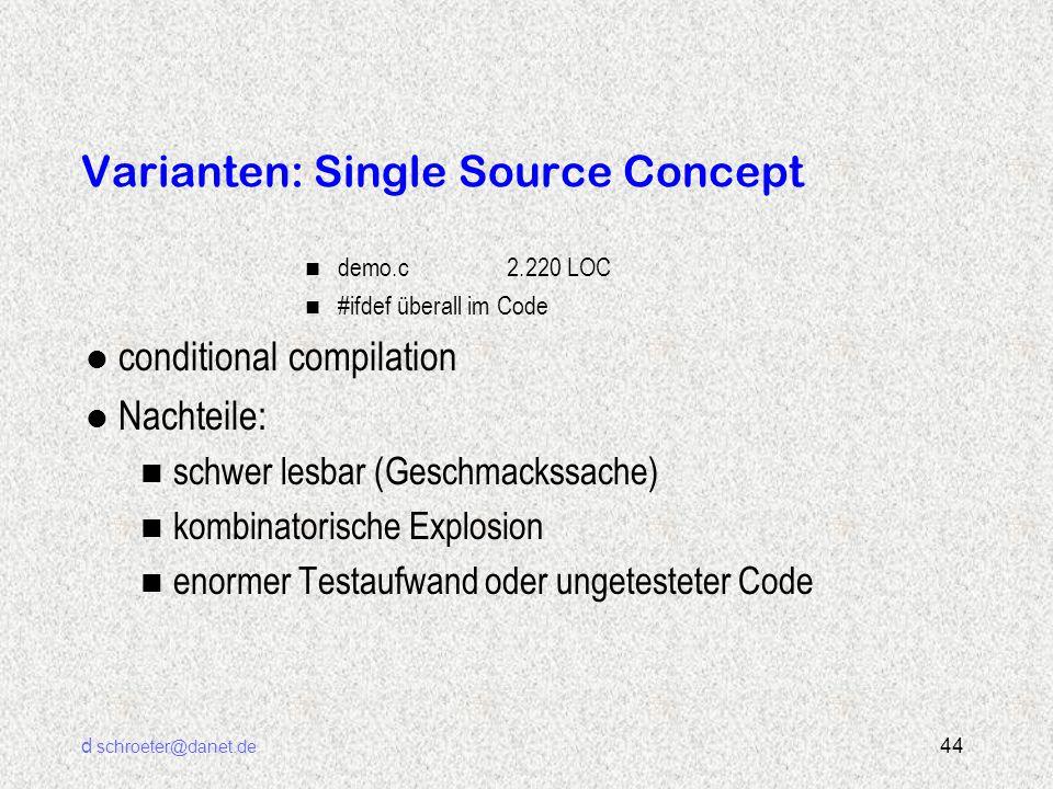 d schroeter@danet.de 44 Varianten: Single Source Concept n demo.c2.220 LOC n #ifdef überall im Code l conditional compilation l Nachteile: n schwer le