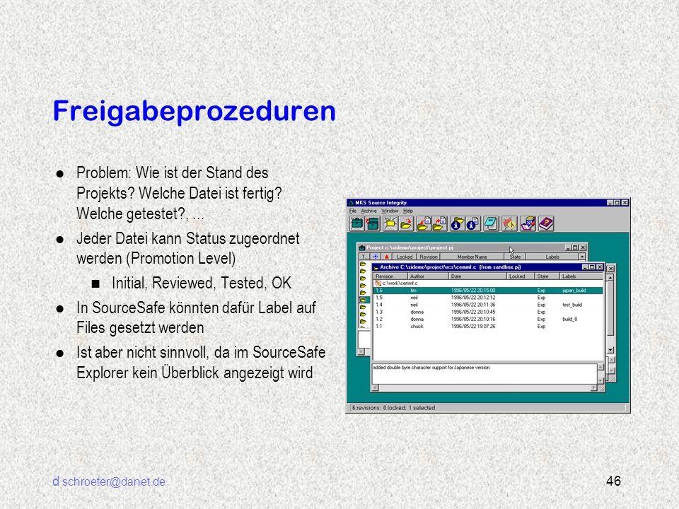 d schroeter@danet.de 46 Freigabeprozeduren l Problem: Wie ist der Stand des Projekts? Welche Datei ist fertig? Welche getestet?,... l Jeder Datei kann