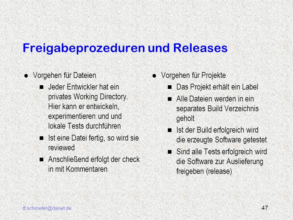 d schroeter@danet.de 47 Freigabeprozeduren und Releases l Vorgehen für Dateien n Jeder Entwickler hat ein privates Working Directory. Hier kann er ent
