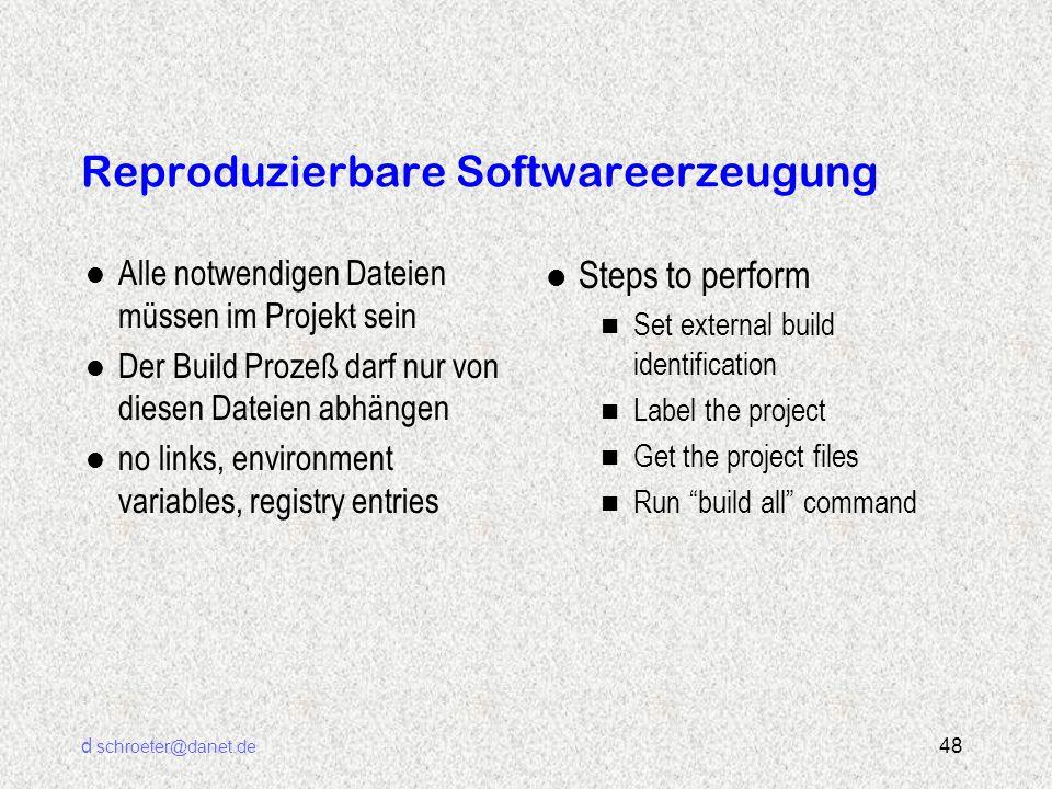 d schroeter@danet.de 48 Reproduzierbare Softwareerzeugung l Alle notwendigen Dateien müssen im Projekt sein l Der Build Prozeß darf nur von diesen Dat