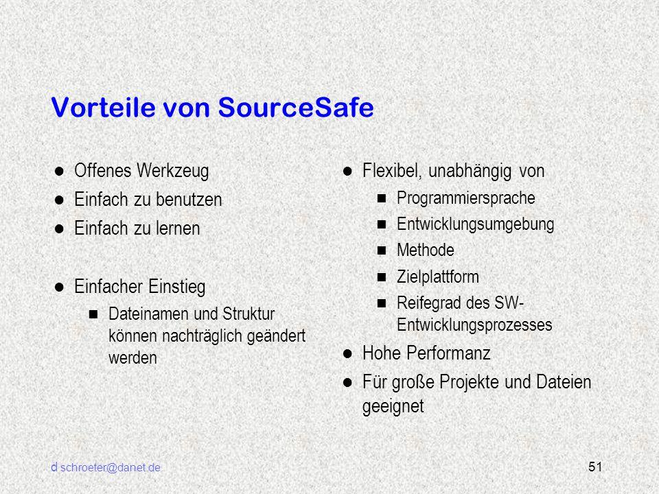 d schroeter@danet.de 51 Vorteile von SourceSafe l Offenes Werkzeug l Einfach zu benutzen l Einfach zu lernen l Einfacher Einstieg n Dateinamen und Str