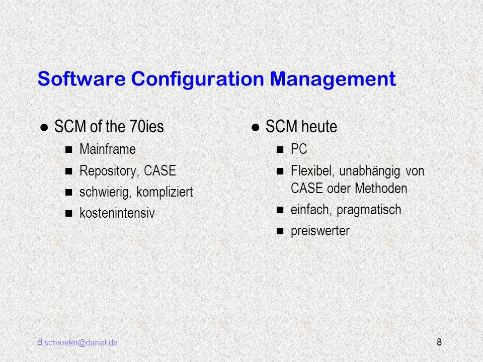 d schroeter@danet.de 19 SCM mit Microsoft SourceSafe l Einfach zu beherrschendes Tool l Nur ein Zweck: SCM l Für alle Arten von Dateien und Projekten geeignet l Integration und Anpassung nicht notwendig aber möglich