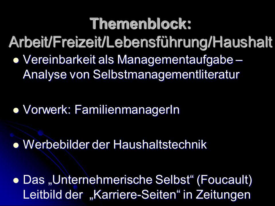 Themenblock: Arbeit/Freizeit/Lebensführung/Haushalt Vereinbarkeit als Managementaufgabe – Analyse von Selbstmanagementliteratur Vereinbarkeit als Mana