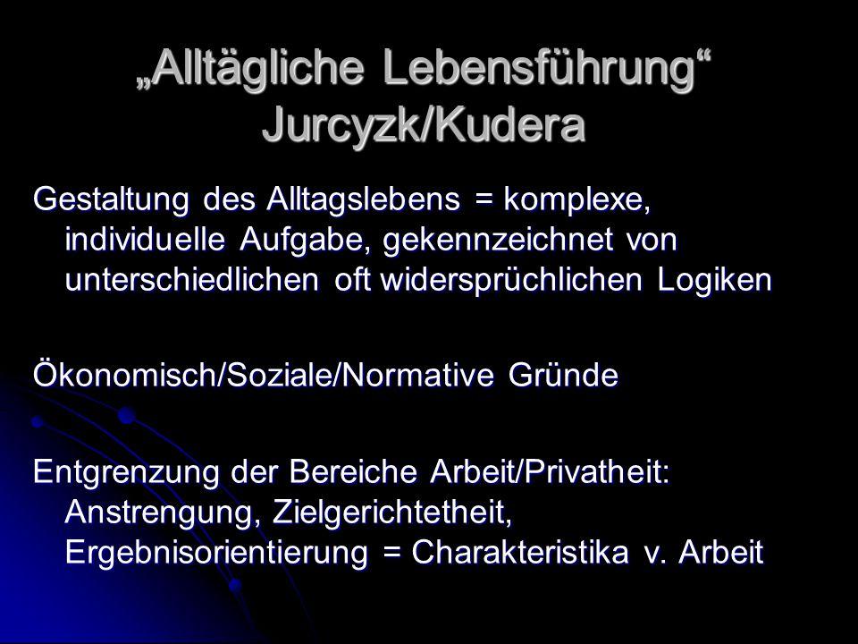 """""""Alltägliche Lebensführung"""" Jurcyzk/Kudera Gestaltung des Alltagslebens = komplexe, individuelle Aufgabe, gekennzeichnet von unterschiedlichen oft wid"""