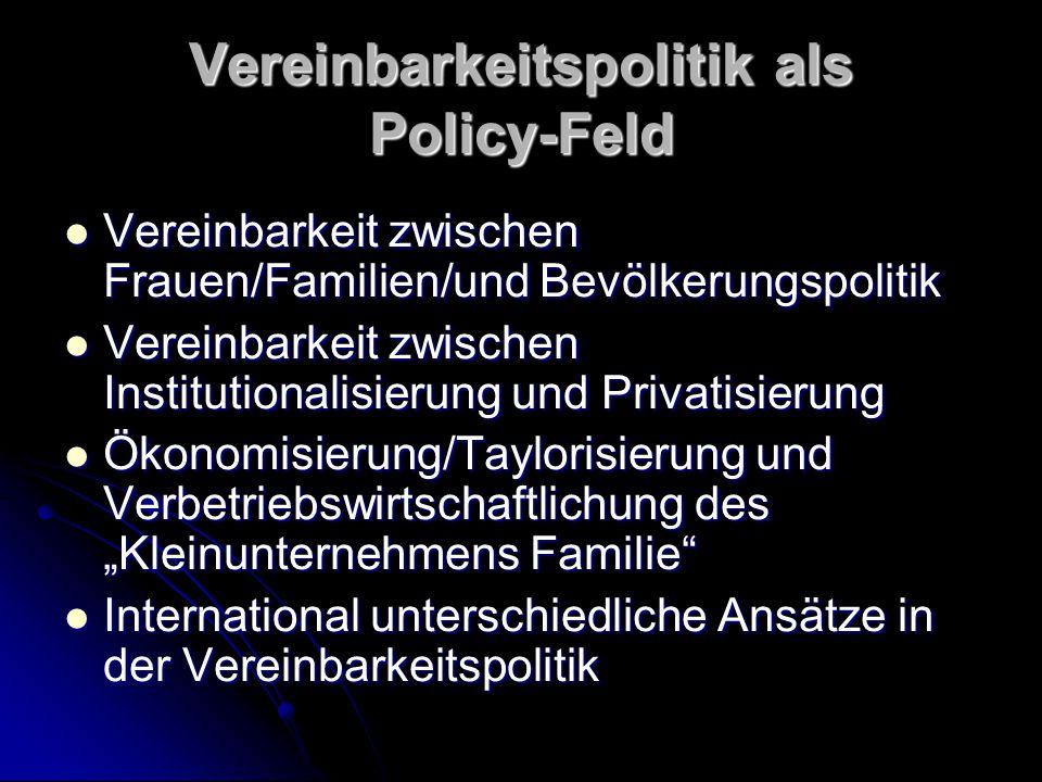 Vereinbarkeitspolitik als Policy-Feld Vereinbarkeit zwischen Frauen/Familien/und Bevölkerungspolitik Vereinbarkeit zwischen Frauen/Familien/und Bevölk