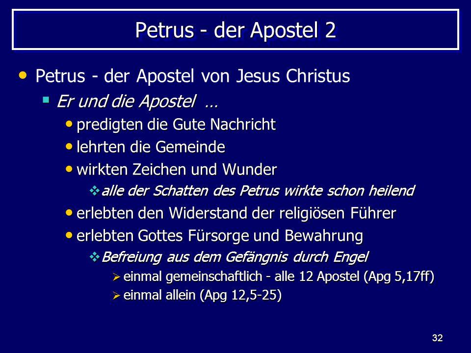 32 Petrus - der Apostel 2 Petrus - der Apostel von Jesus Christus  Er und die Apostel … predigten die Gute Nachricht predigten die Gute Nachricht leh
