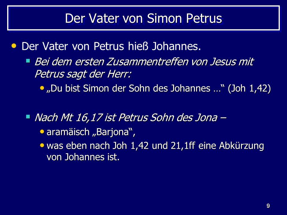"""9 Der Vater von Simon Petrus Der Vater von Petrus hieß Johannes.  Bei dem ersten Zusammentreffen von Jesus mit Petrus sagt der Herr: """"Du bist Simon d"""