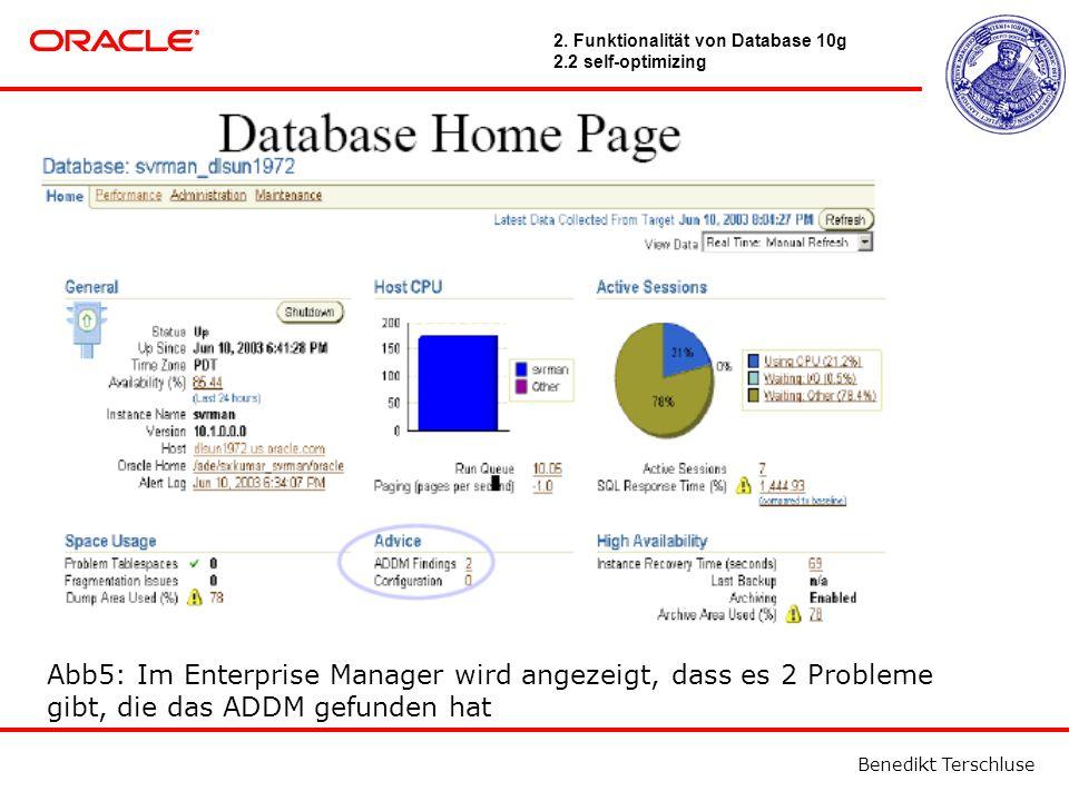 Benedikt Terschluse Abb5: Im Enterprise Manager wird angezeigt, dass es 2 Probleme gibt, die das ADDM gefunden hat 2.