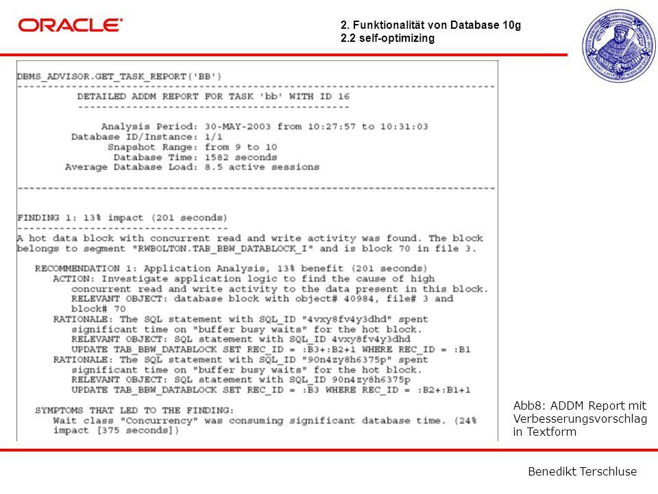 Benedikt Terschluse Abb8: ADDM Report mit Verbesserungsvorschlag in Textform 2.