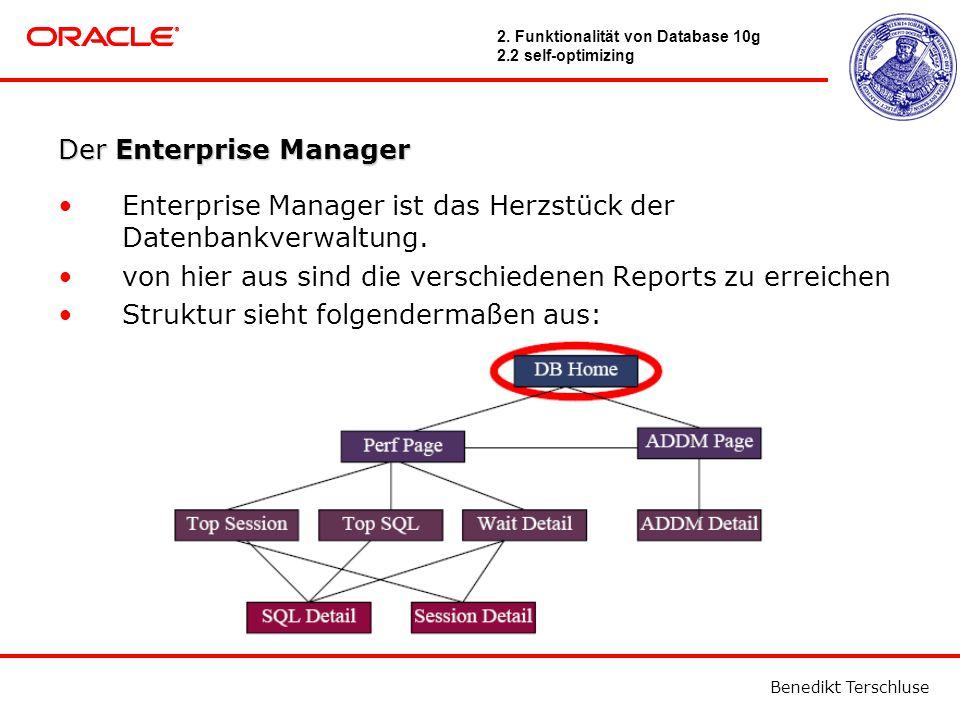 Benedikt Terschluse Der Enterprise Manager Enterprise Manager ist das Herzstück der Datenbankverwaltung.