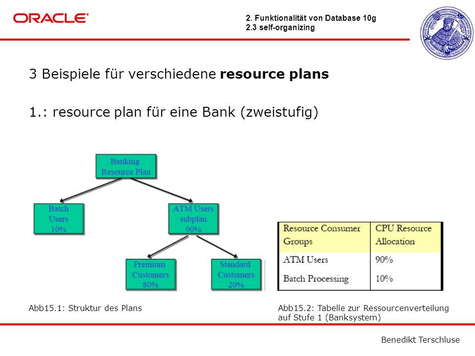 Benedikt Terschluse 3 Beispiele für verschiedene resource plans 1.: resource plan für eine Bank (zweistufig) Abb15.1: Struktur des PlansAbb15.2: Tabelle zur Ressourcenverteilung auf Stufe 1 (Banksystem) 2.