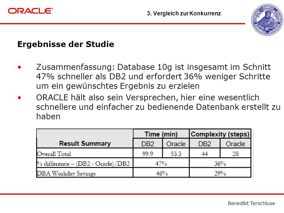 Benedikt Terschluse Ergebnisse der Studie Zusammenfassung: Database 10g ist insgesamt im Schnitt 47% schneller als DB2 und erfordert 36% weniger Schritte um ein gewünschtes Ergebnis zu erzielen ORACLE hält also sein Versprechen, hier eine wesentlich schnellere und einfacher zu bedienende Datenbank erstellt zu haben 3.