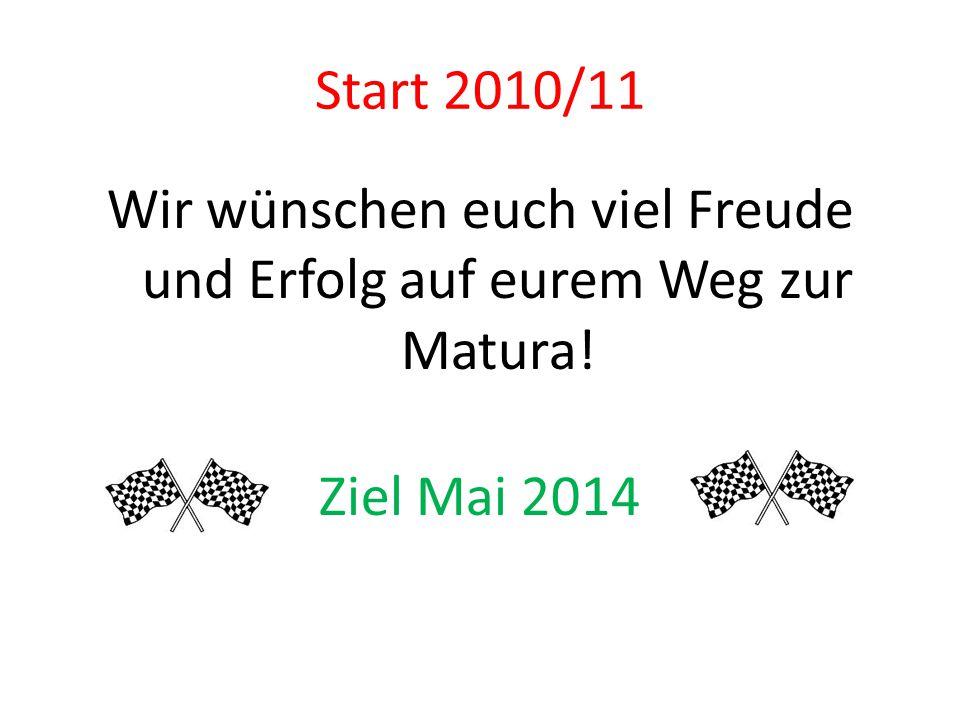 Start 2010/11 Wir wünschen euch viel Freude und Erfolg auf eurem Weg zur Matura! Ziel Mai 2014