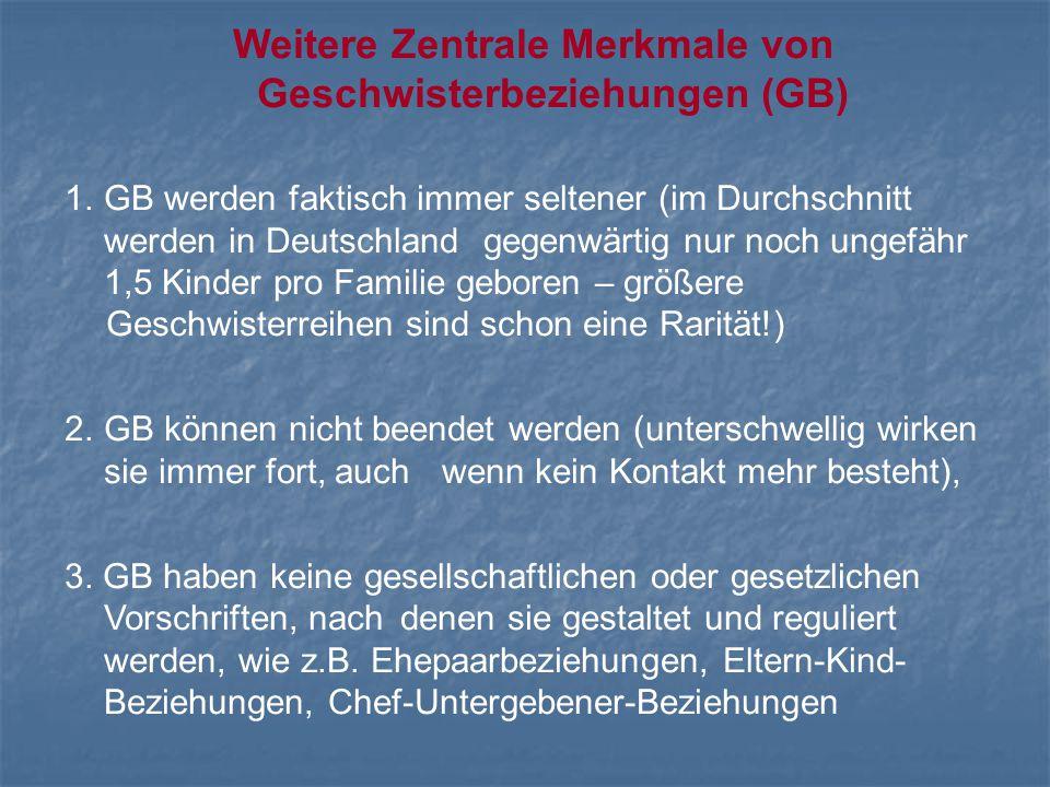 Weitere Zentrale Merkmale von Geschwisterbeziehungen (GB) 1.GB werden faktisch immer seltener (im Durchschnitt werden in Deutschland gegenwärtig nur n