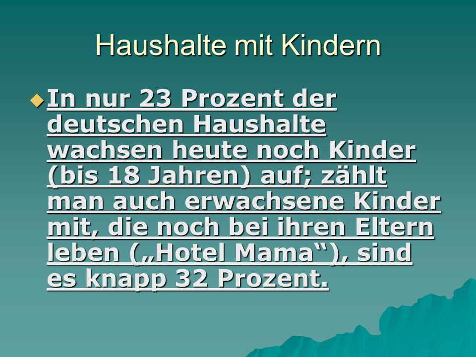 Haushalte mit Kindern  In nur 23 Prozent der deutschen Haushalte wachsen heute noch Kinder (bis 18 Jahren) auf; zählt man auch erwachsene Kinder mit,