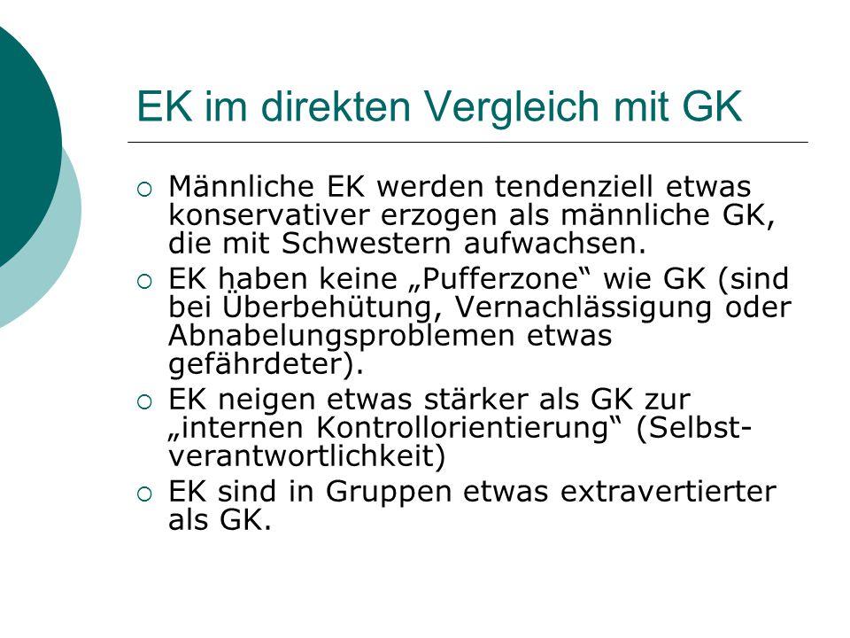 EK im direkten Vergleich mit GK  Männliche EK werden tendenziell etwas konservativer erzogen als männliche GK, die mit Schwestern aufwachsen.  EK ha