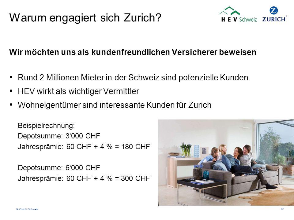 © Zurich Schweiz 10 Warum engagiert sich Zurich? Wir möchten uns als kundenfreundlichen Versicherer beweisen Rund 2 Millionen Mieter in der Schweiz si