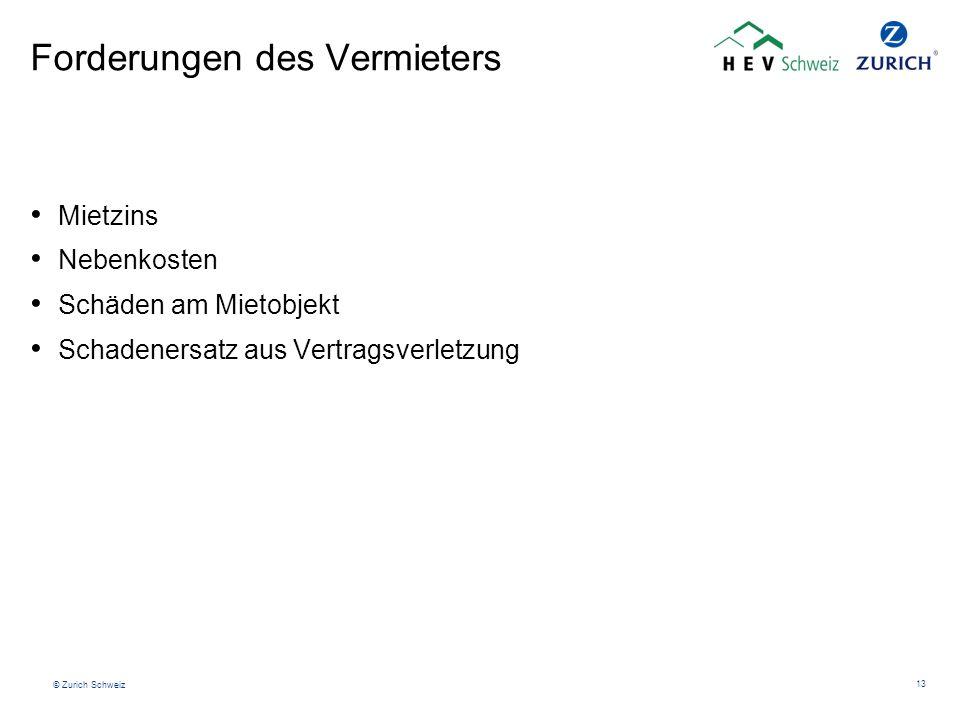 © Zurich Schweiz 13 Forderungen des Vermieters Mietzins Nebenkosten Schäden am Mietobjekt Schadenersatz aus Vertragsverletzung
