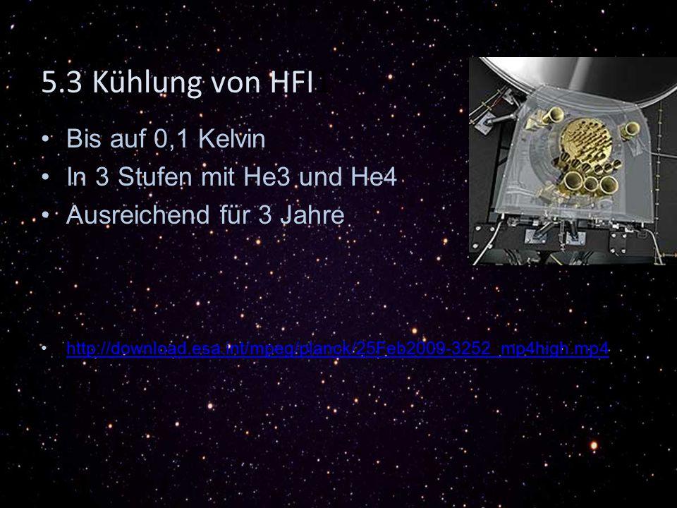 Bis auf 0,1 Kelvin In 3 Stufen mit He3 und He4 Ausreichend für 3 Jahre http://download.esa.int/mpeg/planck/25Feb2009-3252_mp4high.mp4 5.3 Kühlung von HFI1