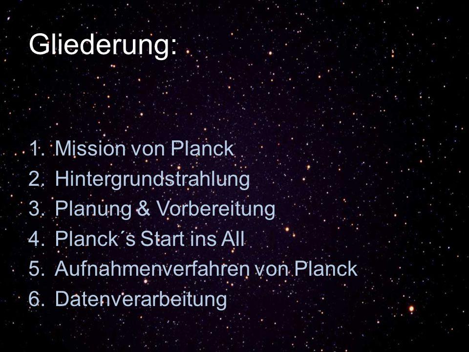 Gliederung: 1.Mission von Planck 2.Hintergrundstrahlung 3.Planung & Vorbereitung 4.Planck´s Start ins All 5.Aufnahmenverfahren von Planck 6.Datenverarbeitung