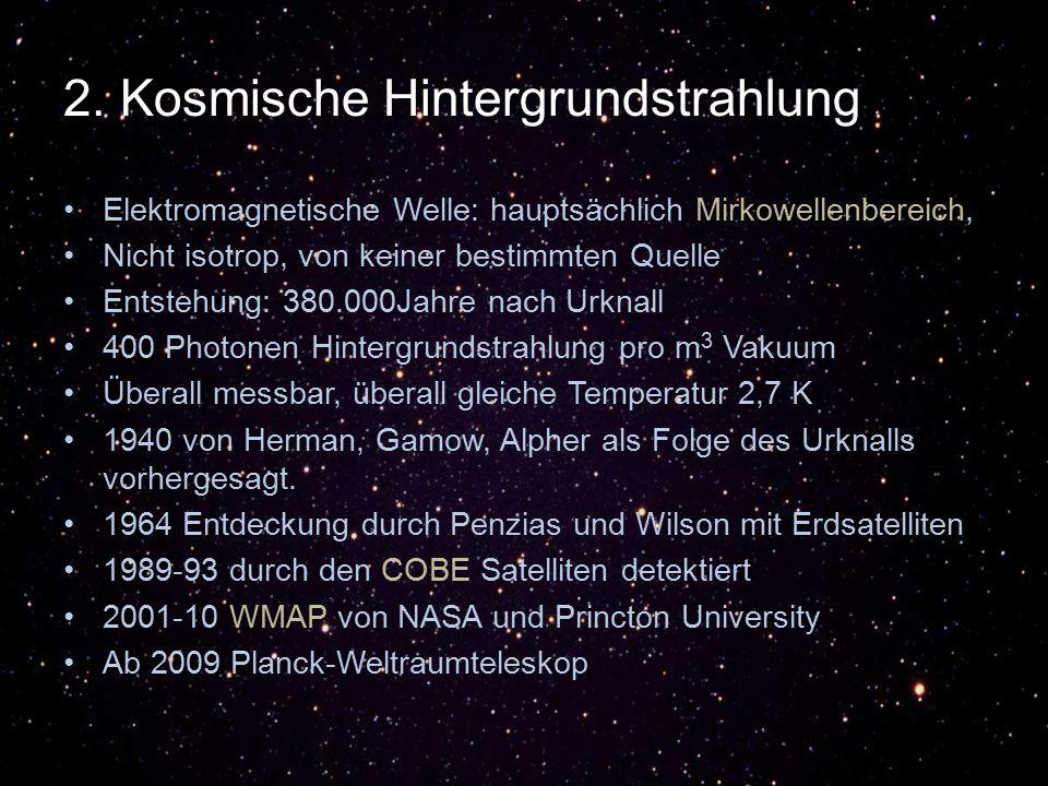 2. Kosmische Hintergrundstrahlung Elektromagnetische Welle: hauptsächlich Mirkowellenbereich, Nicht isotrop, von keiner bestimmten Quelle Entstehung: