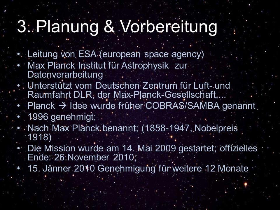 3. Planung & Vorbereitung Leitung von ESA (european space agency) Max Planck Institut für Astrophysik zur Datenverarbeitung Unterstützt vom Deutschen