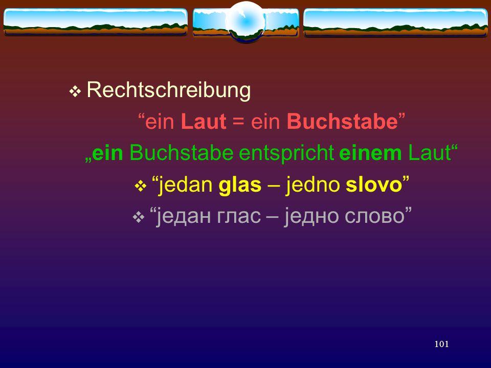 """101  Rechtschreibung ein Laut = ein Buchstabe """"ein Buchstabe entspricht einem Laut  jedan glas – jedno slovo  jeдан глас – jедно слово"""