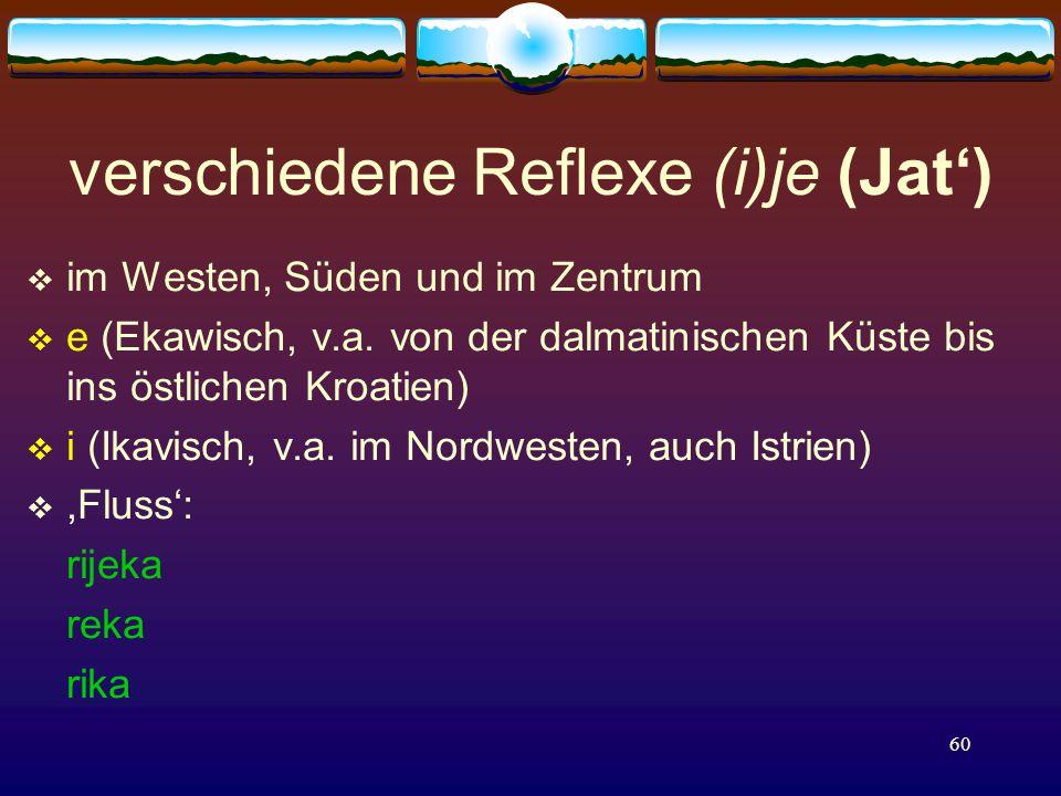 60 verschiedene Reflexe (i)je (Jat')  im Westen, Süden und im Zentrum  e (Ekawisch, v.a.