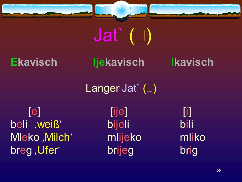 69 Jat` (  ) Ekavisch Ijekavisch Ikavisch Langer Jat` (  ) [e] [ije] [i] beli 'weiß'bijelibili Mleko 'Milch' mlijekomliko breg'Ufer' brijegbrig