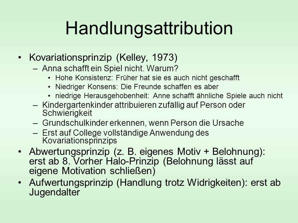 Handlungsattribution Kovariationsprinzip (Kelley, 1973) –Anna schafft ein Spiel nicht. Warum? Hohe Konsistenz: Früher hat sie es auch nicht geschafft