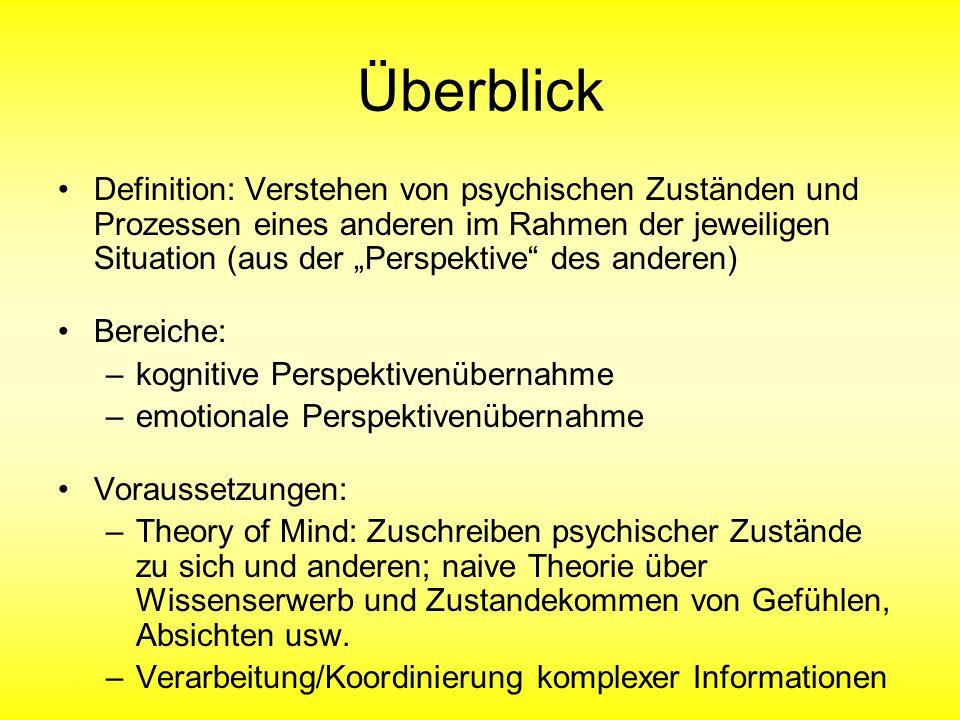 """Überblick Definition: Verstehen von psychischen Zuständen und Prozessen eines anderen im Rahmen der jeweiligen Situation (aus der """"Perspektive"""" des an"""