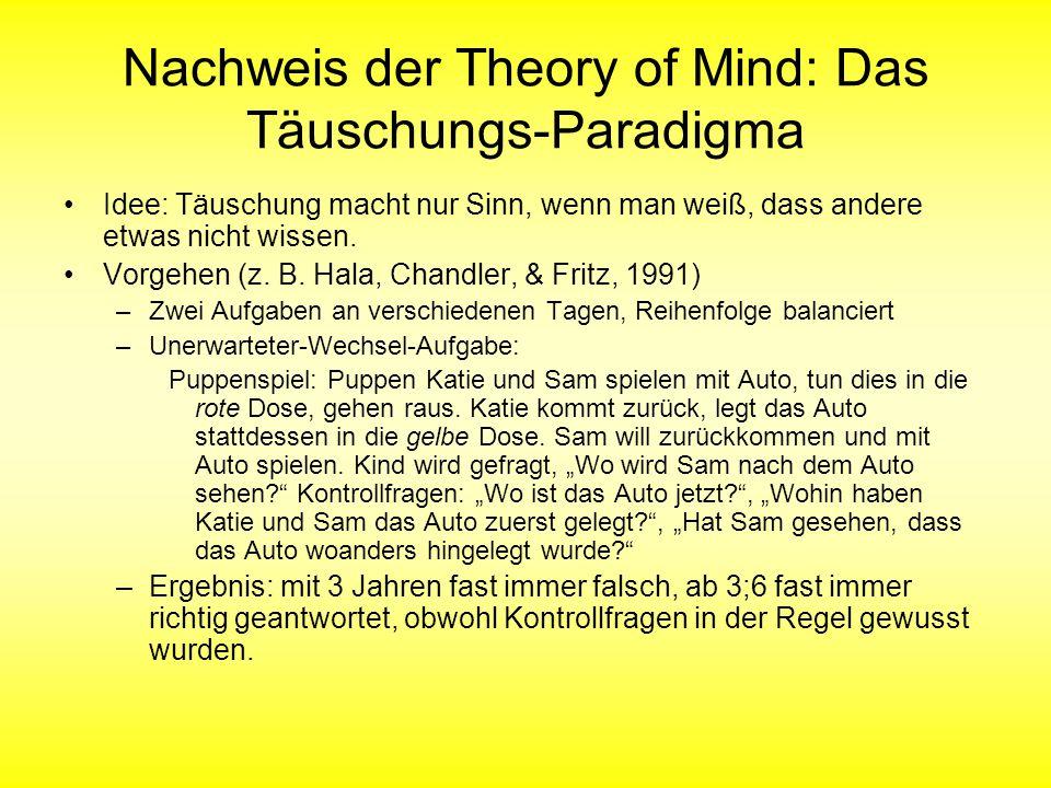 Nachweis der Theory of Mind: Das Täuschungs-Paradigma Idee: Täuschung macht nur Sinn, wenn man weiß, dass andere etwas nicht wissen. Vorgehen (z. B. H