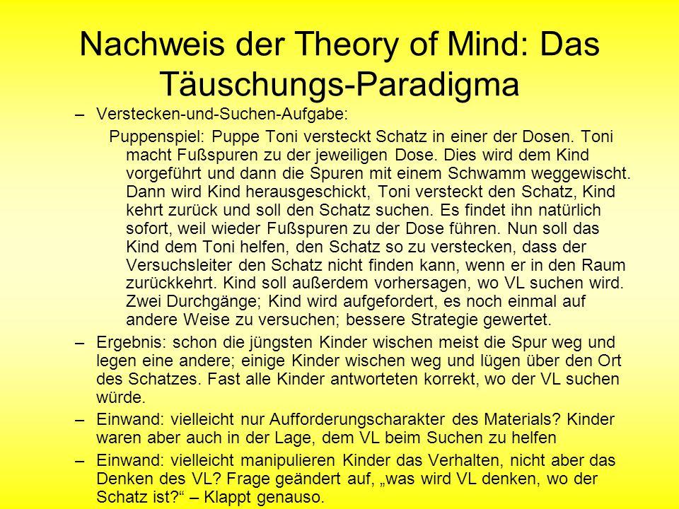 Nachweis der Theory of Mind: Das Täuschungs-Paradigma –Verstecken-und-Suchen-Aufgabe: Puppenspiel: Puppe Toni versteckt Schatz in einer der Dosen. Ton