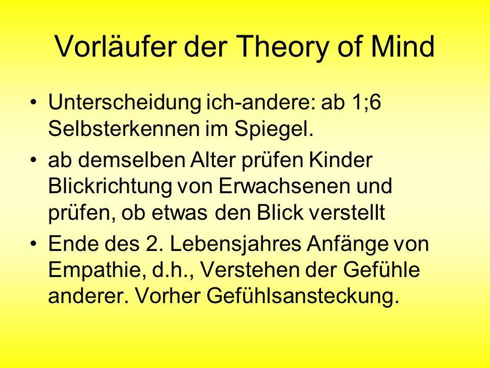 Vorläufer der Theory of Mind Unterscheidung ich-andere: ab 1;6 Selbsterkennen im Spiegel. ab demselben Alter prüfen Kinder Blickrichtung von Erwachsen