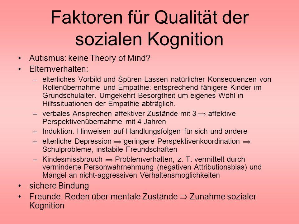 Faktoren für Qualität der sozialen Kognition Autismus: keine Theory of Mind? Elternverhalten: –elterliches Vorbild und Spüren-Lassen natürlicher Konse