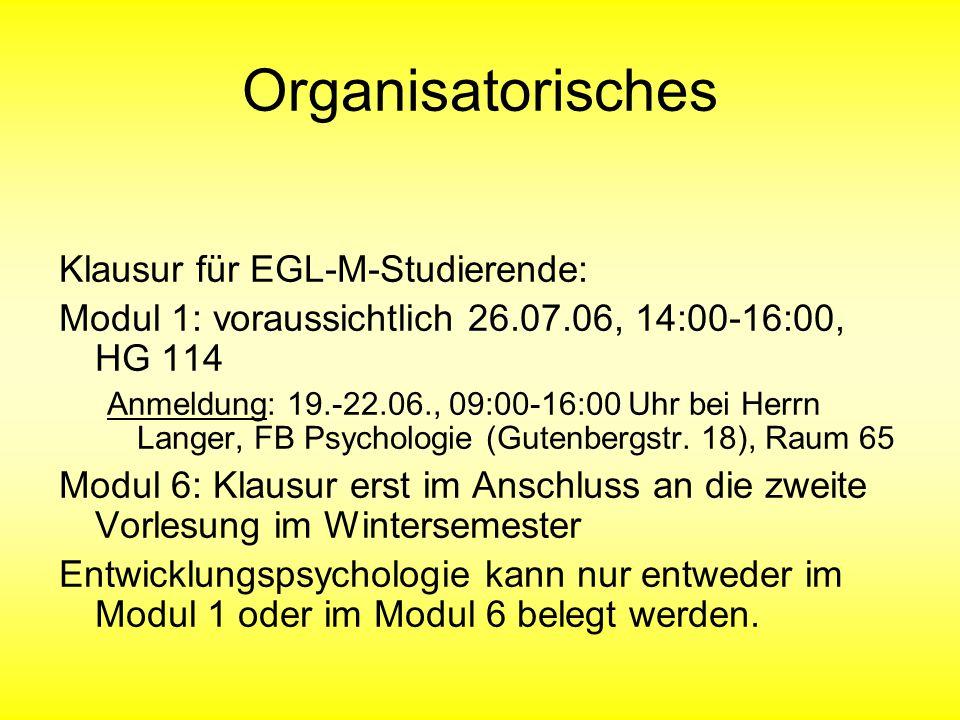 Organisatorisches Klausur für EGL-M-Studierende: Modul 1: voraussichtlich 26.07.06, 14:00-16:00, HG 114 Anmeldung: 19.-22.06., 09:00-16:00 Uhr bei Her