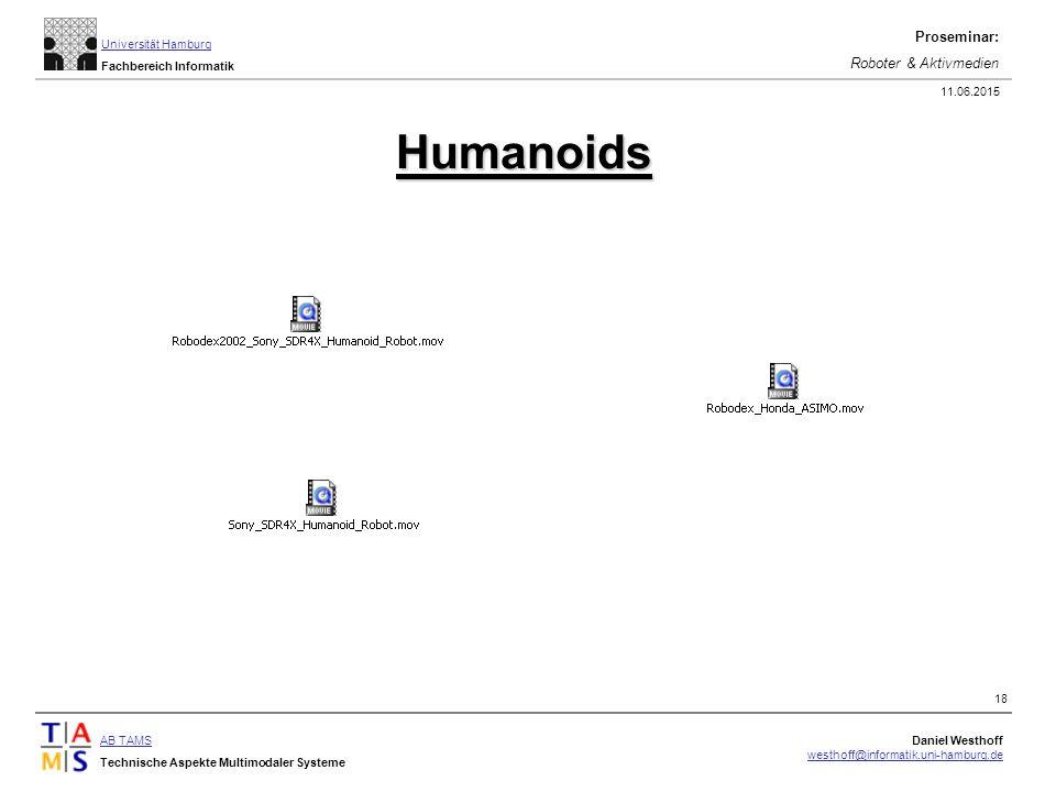 AB TAMS Technische Aspekte Multimodaler Systeme Daniel Westhoff westhoff@informatik.uni-hamburg.de Universität Hamburg Fachbereich Informatik Proseminar: Roboter & Aktivmedien 11.06.2015 18 Humanoids