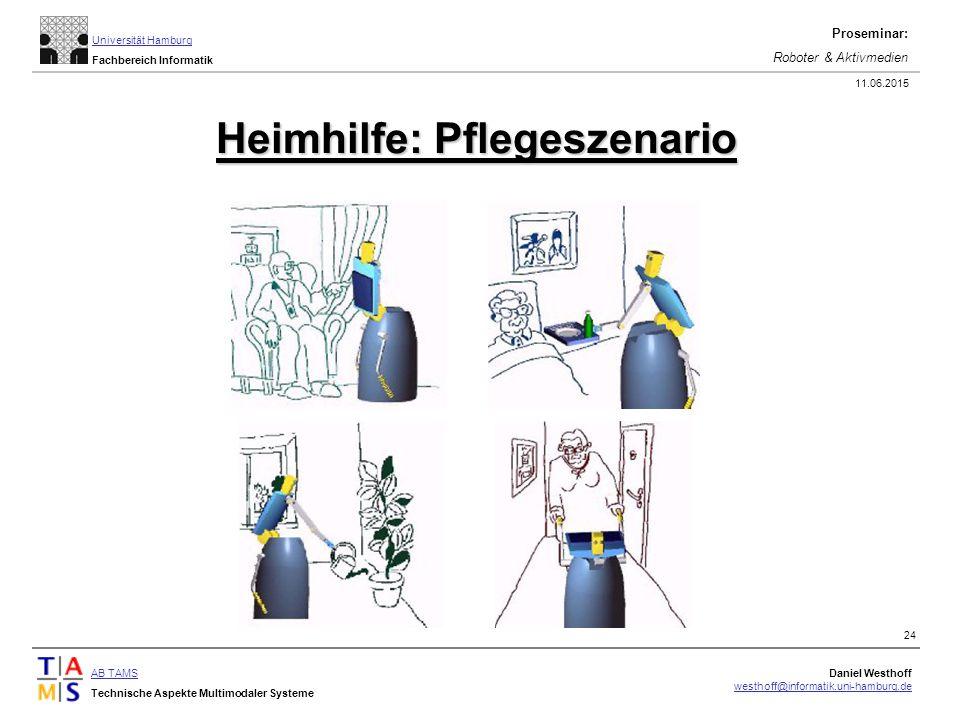 AB TAMS Technische Aspekte Multimodaler Systeme Daniel Westhoff westhoff@informatik.uni-hamburg.de Universität Hamburg Fachbereich Informatik Proseminar: Roboter & Aktivmedien 11.06.2015 24 Heimhilfe: Pflegeszenario