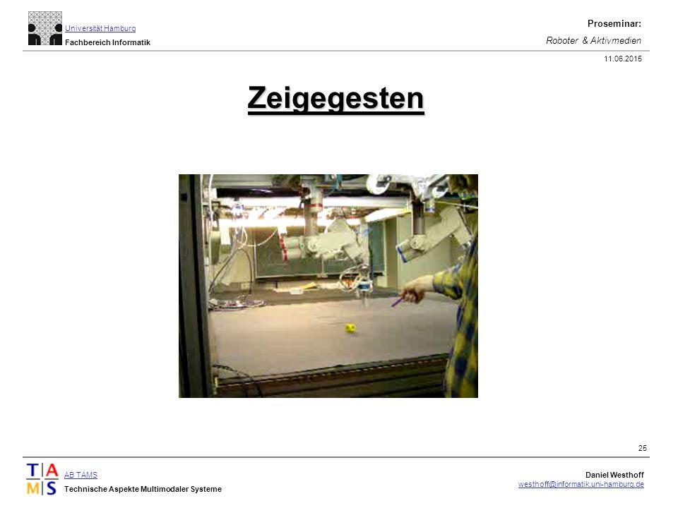 AB TAMS Technische Aspekte Multimodaler Systeme Daniel Westhoff westhoff@informatik.uni-hamburg.de Universität Hamburg Fachbereich Informatik Proseminar: Roboter & Aktivmedien 11.06.2015 25 Zeigegesten