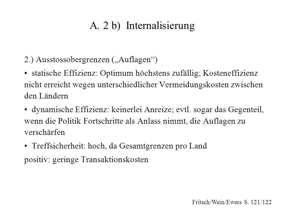 """A. 2 b) Internalisierung 2.) Ausstossobergrenzen (""""Auflagen"""") statische Effizienz: Optimum höchstens zufällig; Kosteneffizienz nicht erreicht wegen un"""