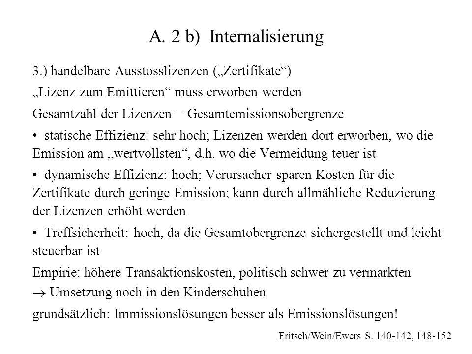 """A. 2 b) Internalisierung 3.) handelbare Ausstosslizenzen (""""Zertifikate"""") """"Lizenz zum Emittieren"""" muss erworben werden Gesamtzahl der Lizenzen = Gesamt"""