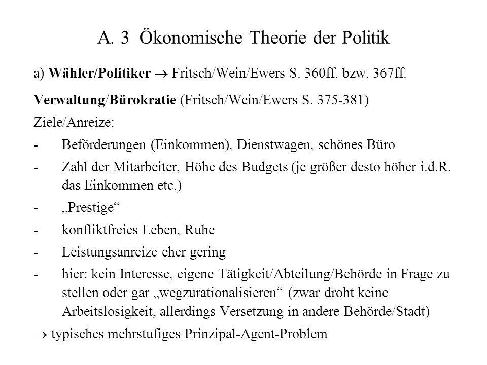 A.3 Ökonomische Theorie der Politik a) Wähler/Politiker  Fritsch/Wein/Ewers S.