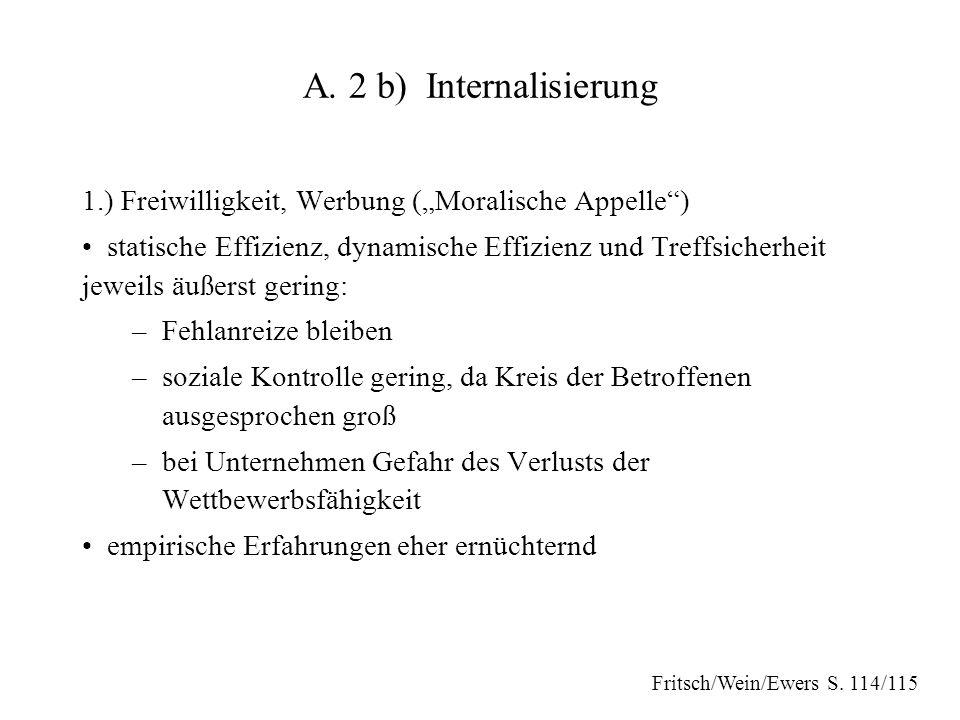 """A. 2 b) Internalisierung 1.) Freiwilligkeit, Werbung (""""Moralische Appelle"""") statische Effizienz, dynamische Effizienz und Treffsicherheit jeweils äuße"""