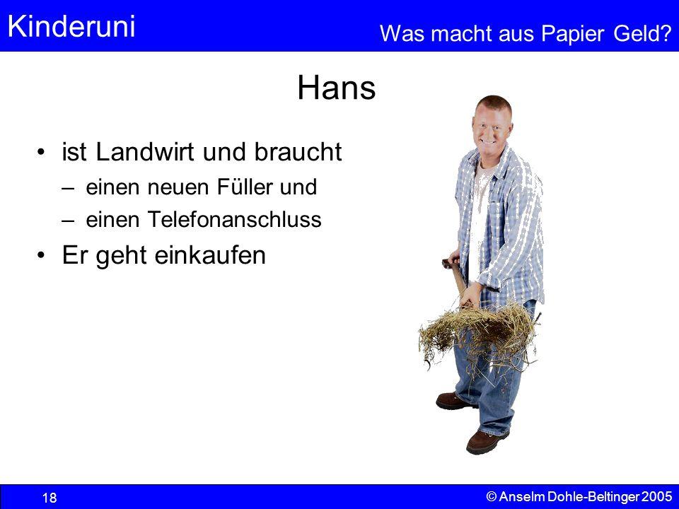 Kinderuni Was macht aus Papier Geld? 18 © Anselm Dohle-Beltinger 2005 Hans ist Landwirt und braucht –einen neuen Füller und –einen Telefonanschluss Er